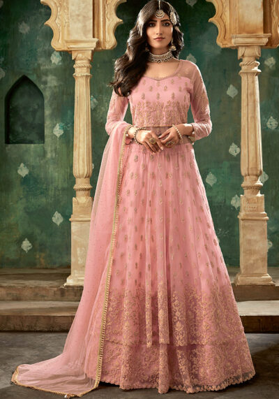 Pink Embroidered Anarkali Suit