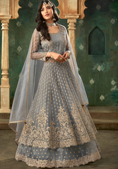 Grey Embroidered Anarkali Suit