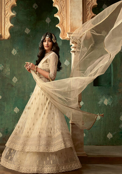 Cream Embroidered Anarkali Suit