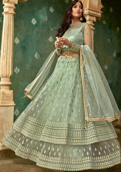 Light Green Embroidered Anarkali Suit