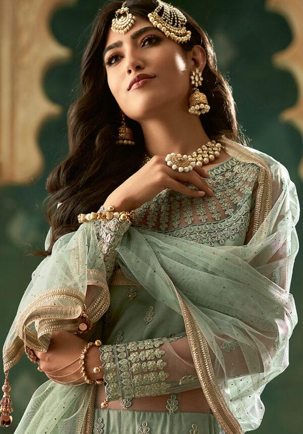 Light Green Embroidered Anarkali Suit