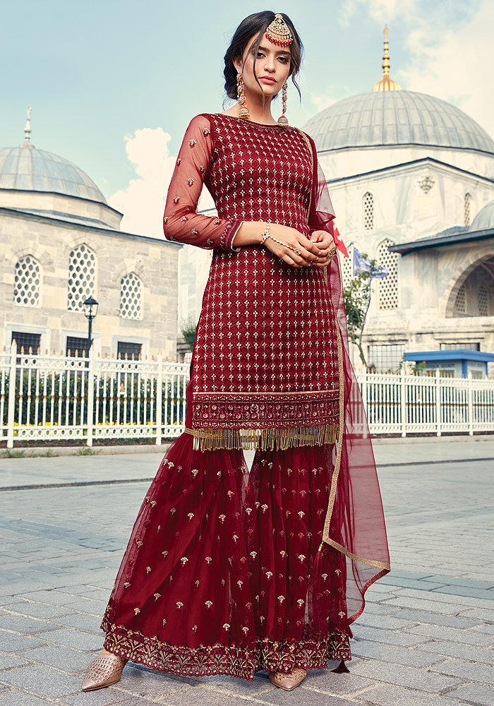 Red Embroidered Sharara Suit