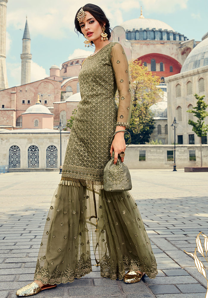 Green Embroidered Sharara Suit
