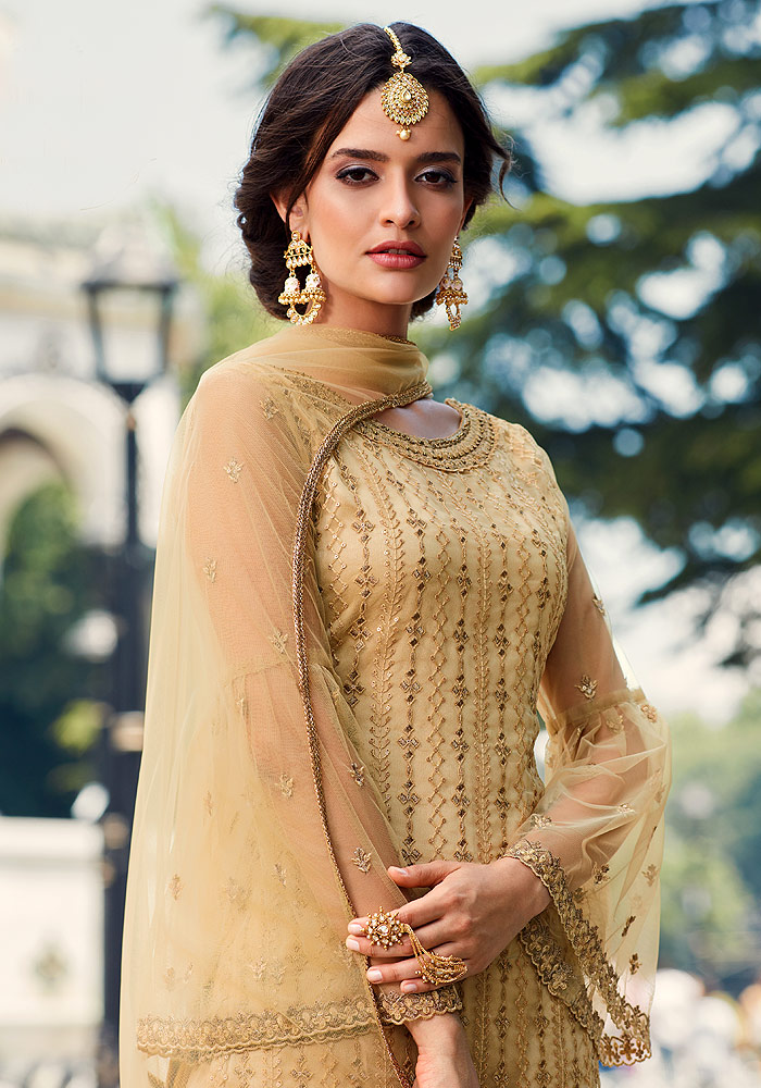 Beige Embroidered Sharara Suit