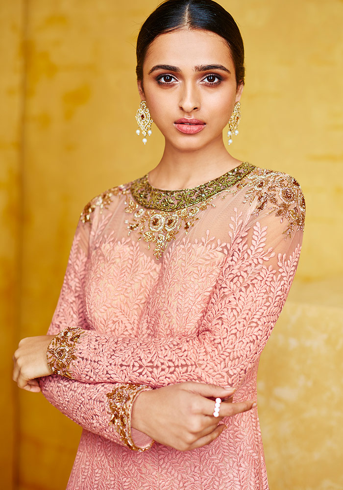 Pink and Gold Heavy Embroidered Anarkali