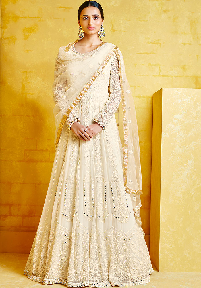 Cream Heavy Embroidered Anarkali