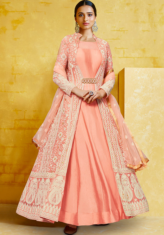 Peach Heavy Embroidered Anarkali