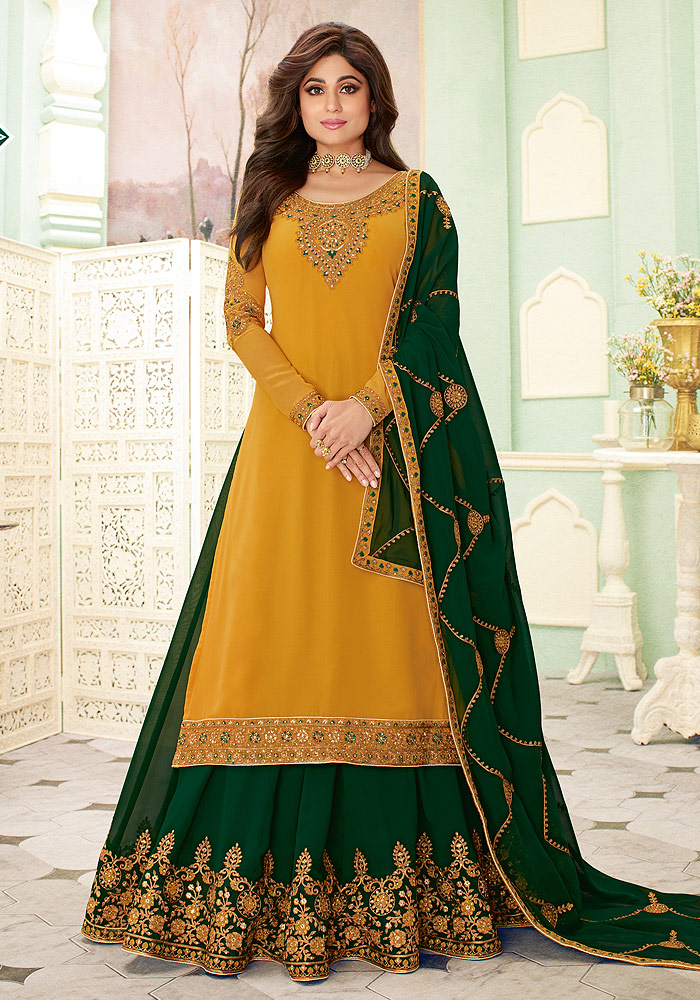 Mustard and Green Embroidered Lehenga Style Suit