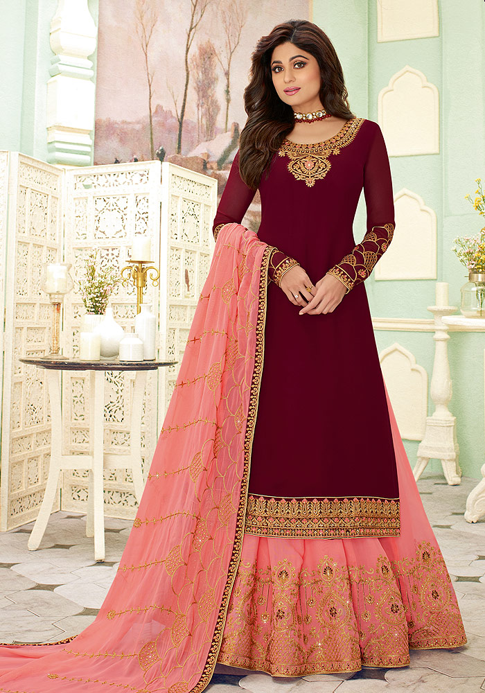 Maroon and Pink Embroidered Lehenga Style Suit