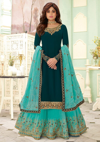 Teal and Aqua Embroidered Lehenga Style Suit