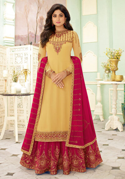 Yellow and Pink Embroidered Lehenga Style Suit