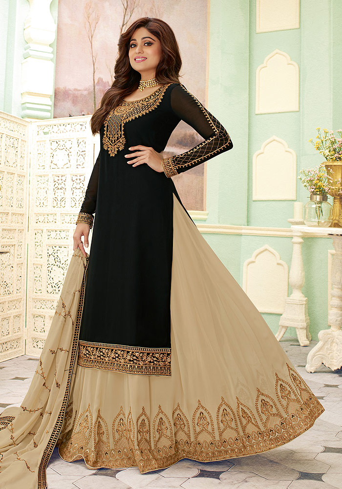 Black and Grey Embroidered Lehenga Style Suit
