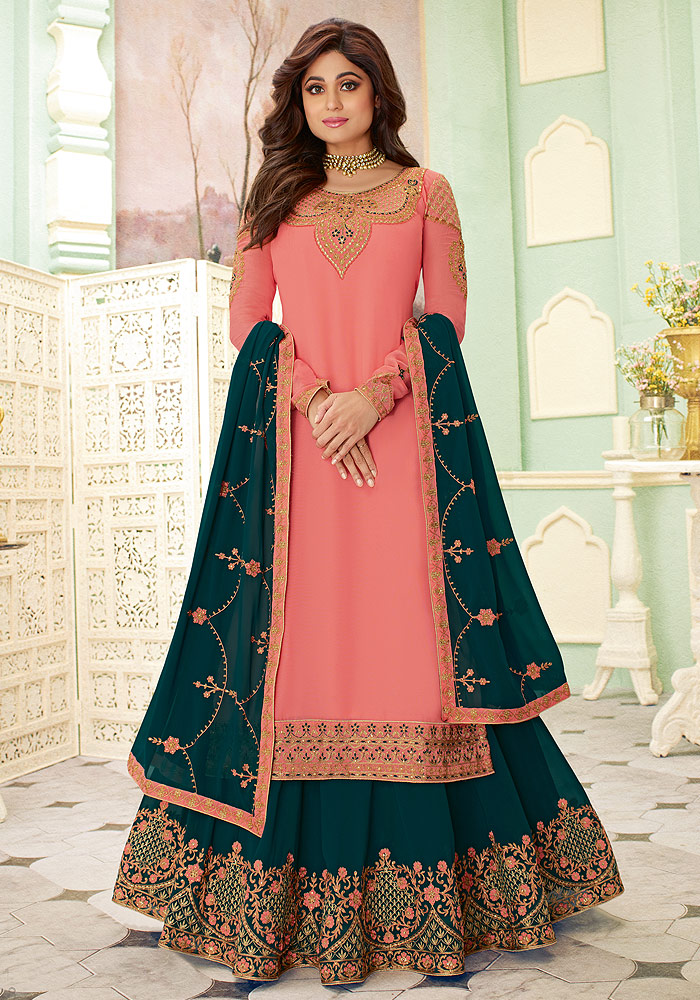 Pink and Teal Embroidered Lehenga Style Suit