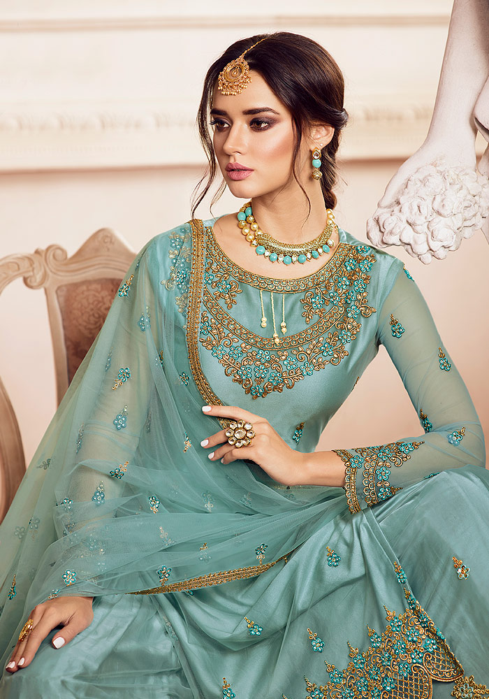 Sky Blue Embroidered Palazzo Suit