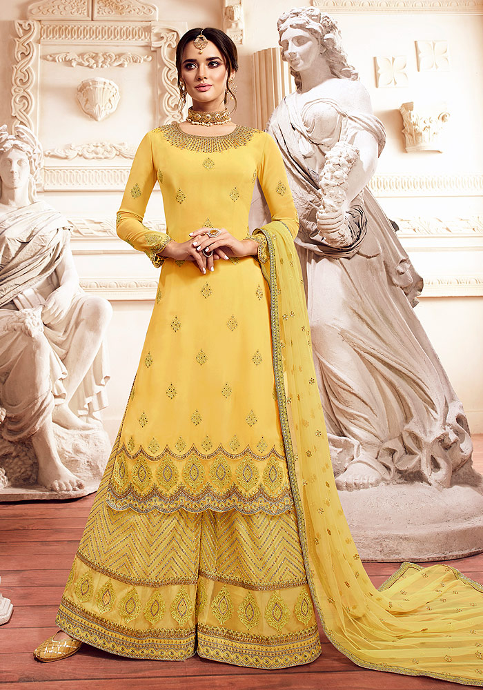 Yellow Embroidered Palazzo Suit