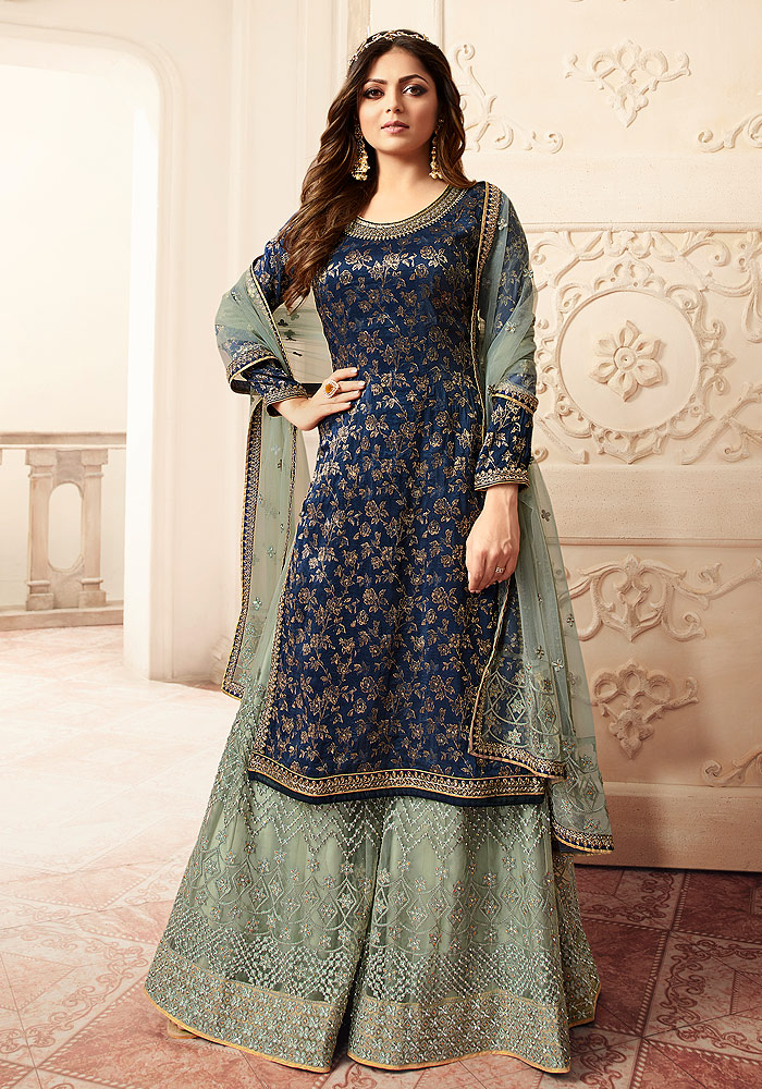 Blue and Green Embroidered Palazzo Suit