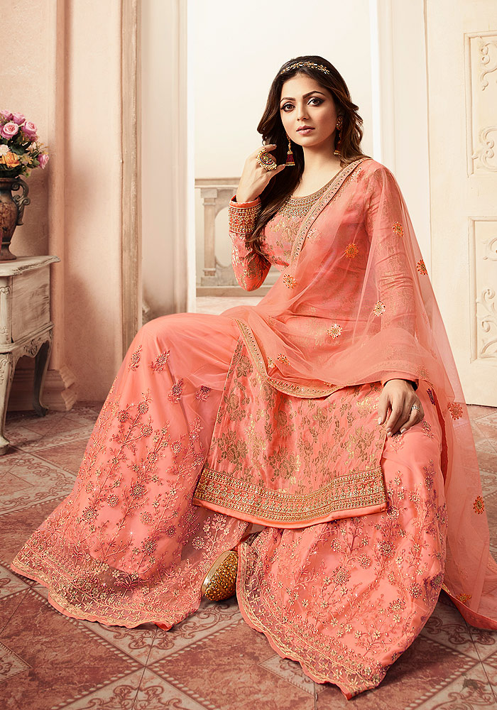 Peach Pink Embroidered Palazzo Suit