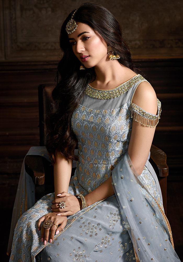 Light Blue Embroidered Salwar Suit
