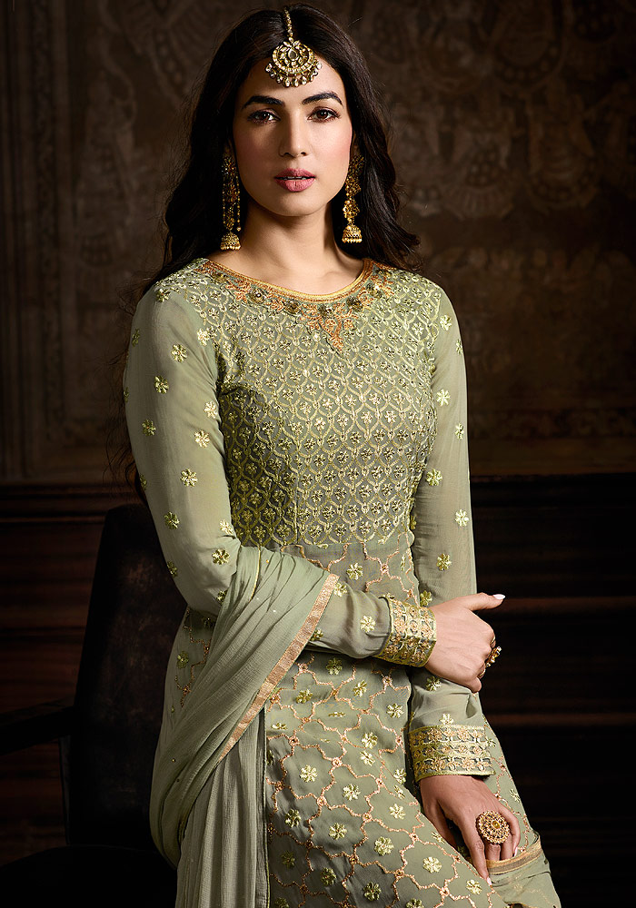 Green Embroidered Salwar Suit