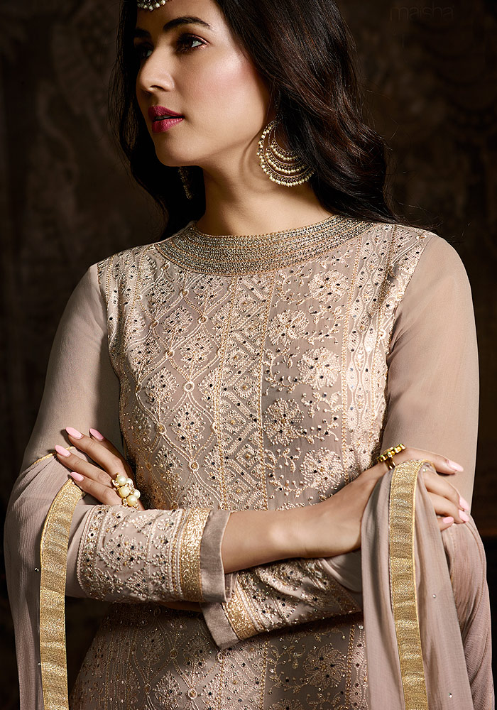 Grey Embroidered Salwar Suit