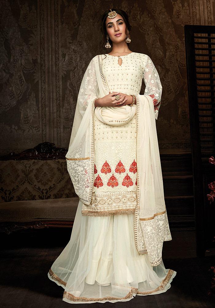 Cream Embroidered Salwar Suit