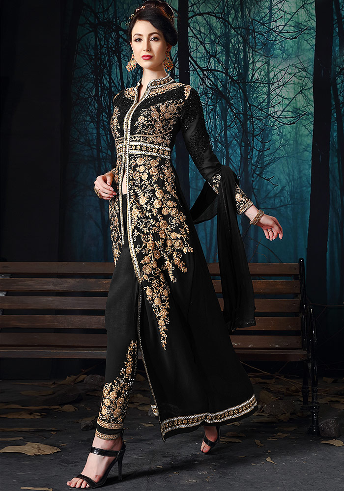 Black Embroidered Pant Style Suit
