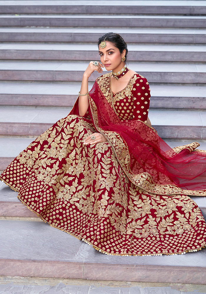 Maroon Heavy Embroidered Lehenga Choli