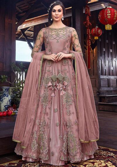 Pink Embroidered Jacket Style Anarkali