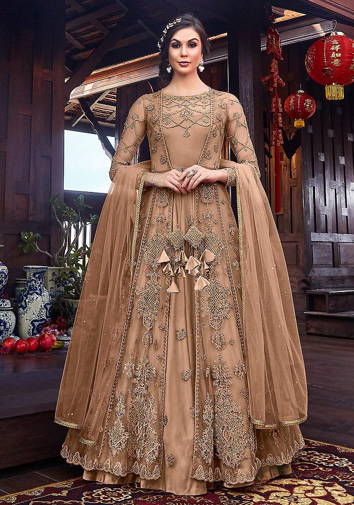 Beige Embroidered Jacket Style Anarkali