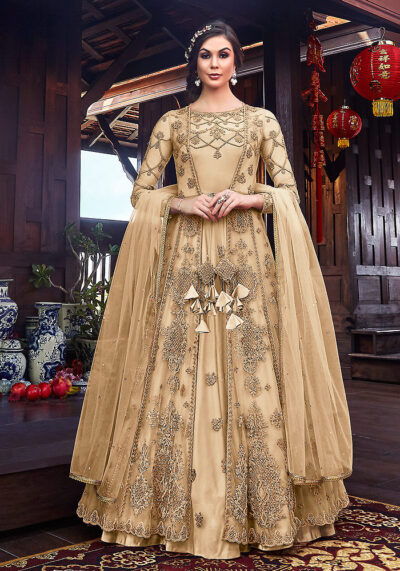 Cream Embroidered Jacket Style Anarkali