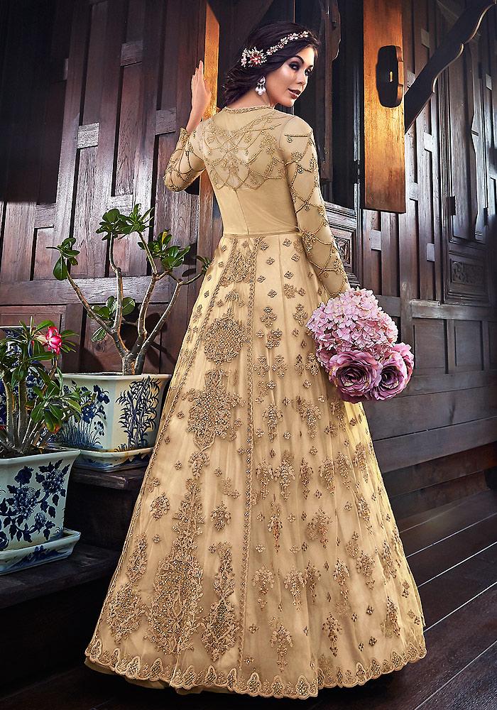Cream Embroidered Jacket Style Anarkali