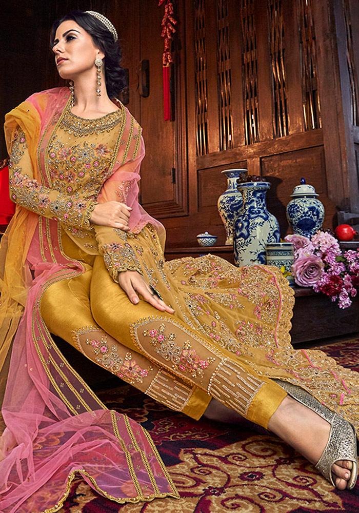 Mustard Embroidered Lehenga/ Pant Style Suit