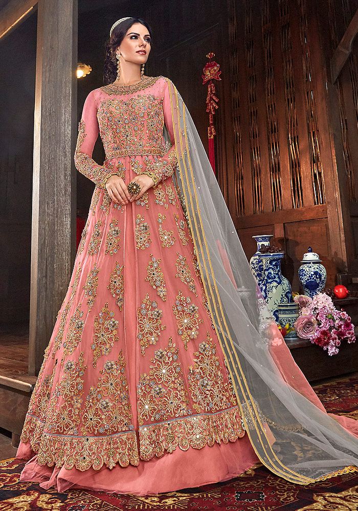 Pink Embroidered Lehenga/ Pant Style Suit