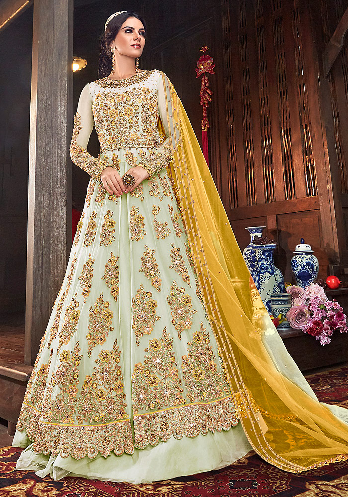 White Embroidered Lehenga/ Pant Style Suit