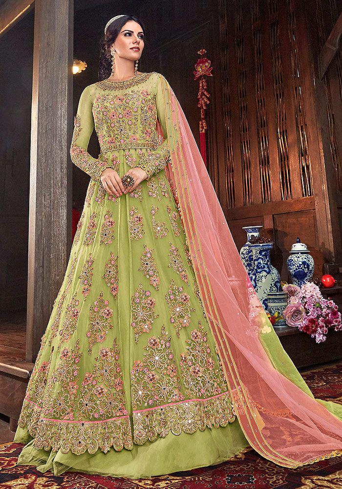 Green Embroidered Lehenga/ Pant Style Suit