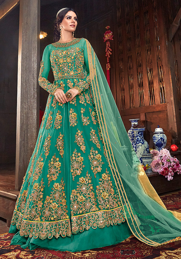 Sea Green Embroidered Lehenga/ Pant Style Suit