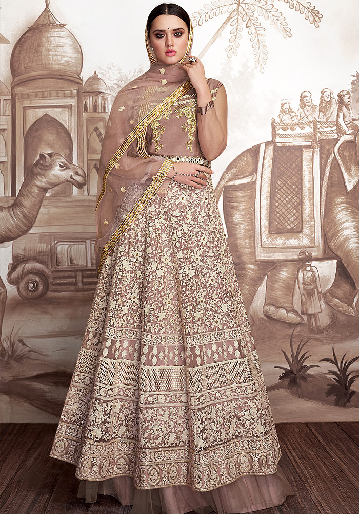 Mauve Embroidered Anarkali
