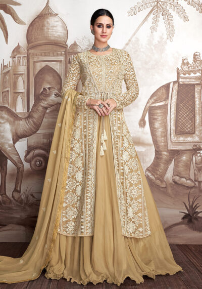 Light Yellow Embroidered Jacket Style Anarkali