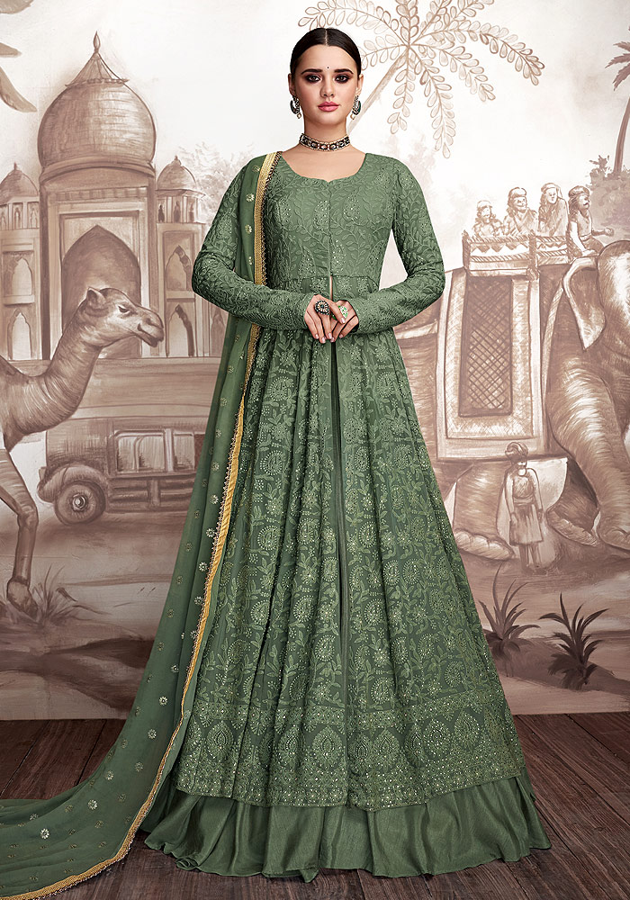 Green Embroidered Anarkali