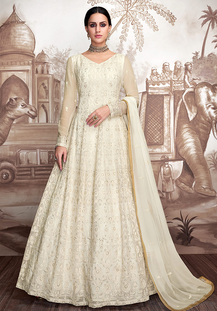 Cream Embroidered Anarkali
