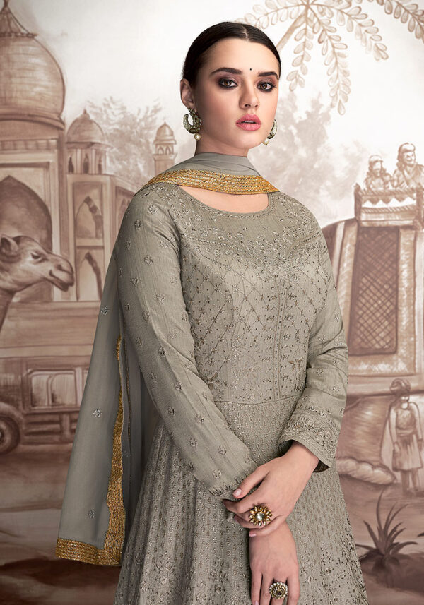 Dusty Green Embroidered Anarkali