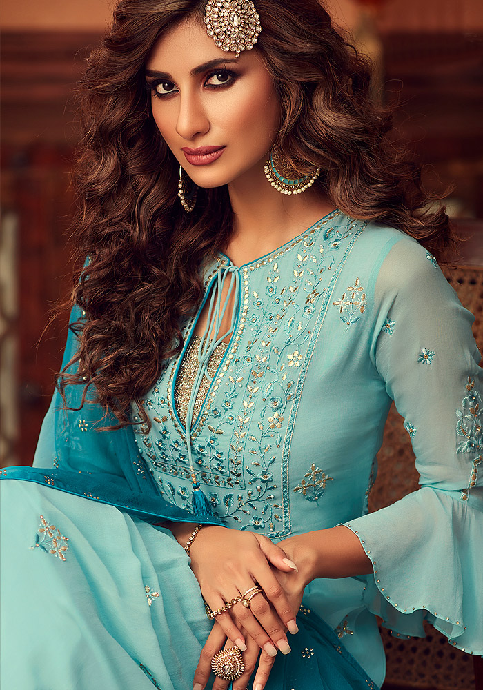 Sky Blue Embroidered Sharara Suit