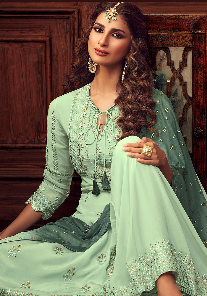 Mint Green Embroidered Sharara Suit