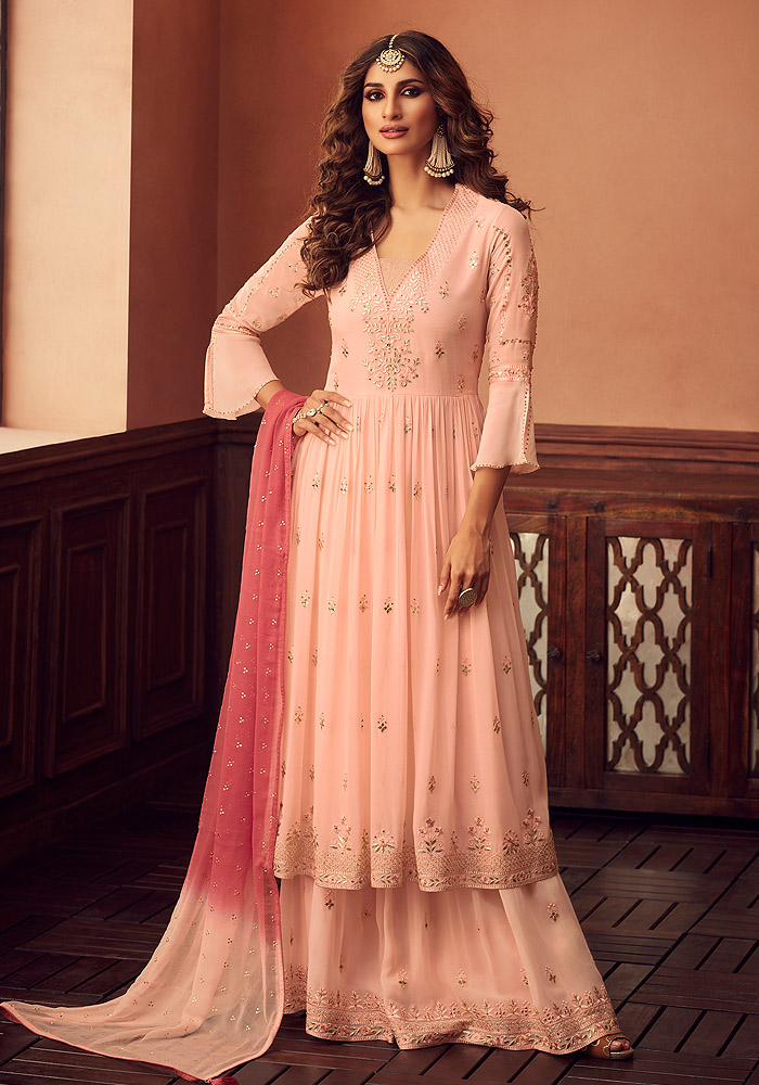 Peach Embroidered Sharara Suit