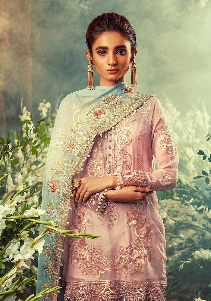 Rose Pink Embroidered Pakistani Style Suit