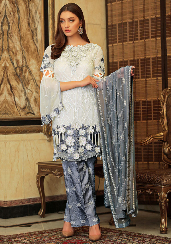 Offwhite and Grey Embroidered Pakistani Style Suit