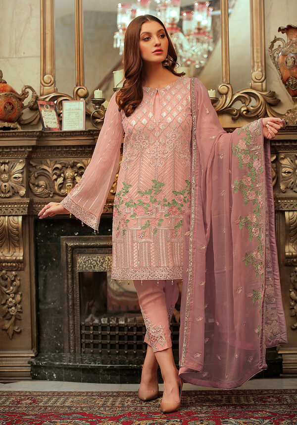 Pink Embroidered Pakistani Style Suit