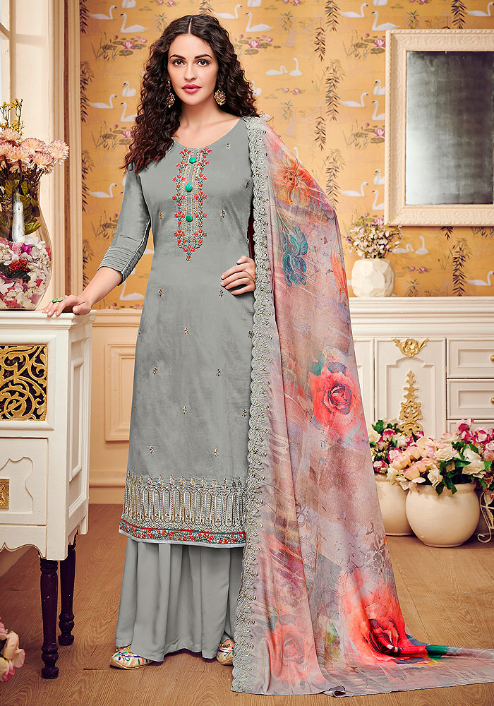 Light Grey Embroidered Palazzo Suit