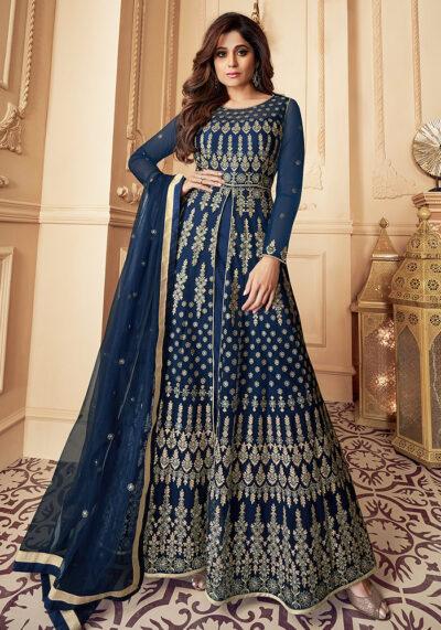 Blue Embroidered Net Anarkali