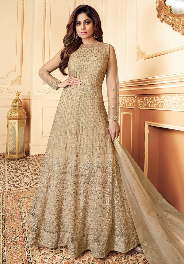Beige Embroidered Net Anarkali